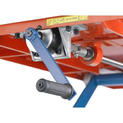 Table élévatrice mobile à manivelle, châssis bleu sécurité L x l plate-forme 1200 x 800 mm - Coloris de la plate-forme: orange pur RAL 2004