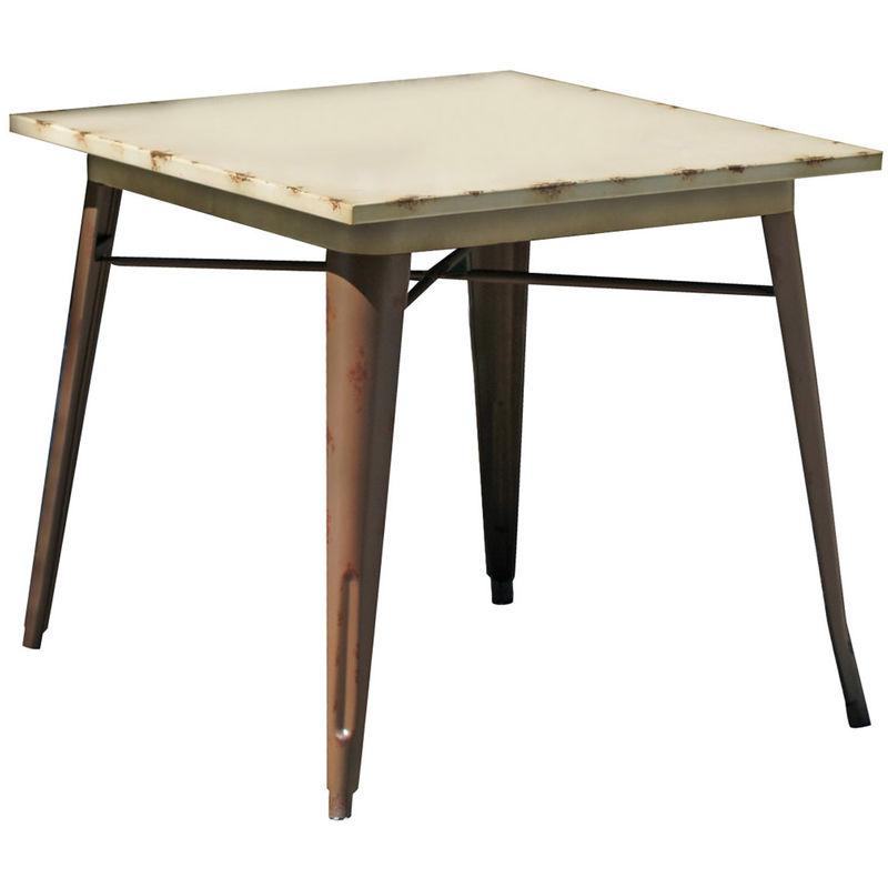 Pegane - Table en acier coloris vieilli rouillé - Dim : 80 x 80 x 75cm