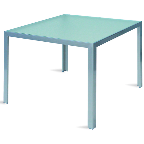 Table En Aluminium Argent Avec Plateau En Verre Trempe Dim 75 X 90 X 90 Cm
