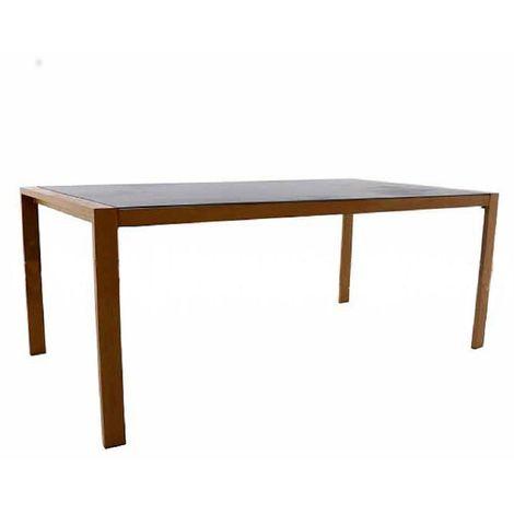 Table en aluminium coloris bois/plateau en verre ardoise -Dim : 190 x 100 cm