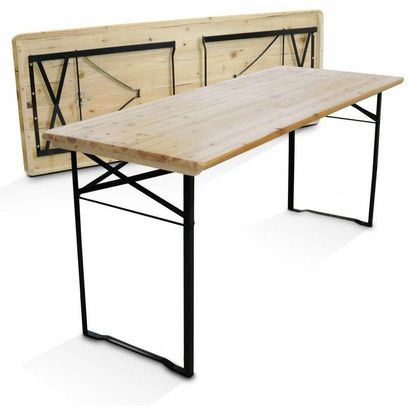 Table en bois 180 cm pieds pliants