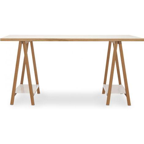 Table en bois avec tréteaux scandinave Bois naturel