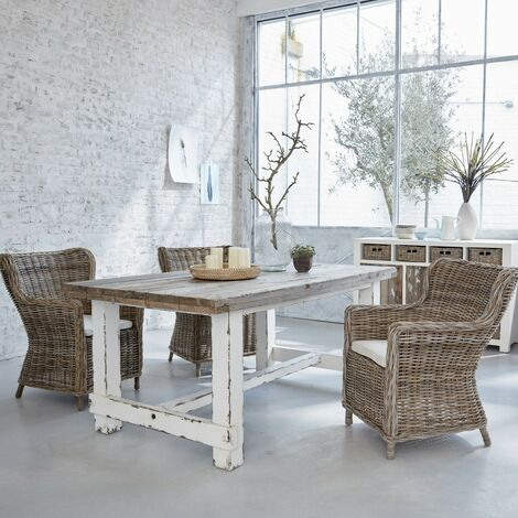 Table en bois de pin recyclé 8 à 10 couverts - Blanc