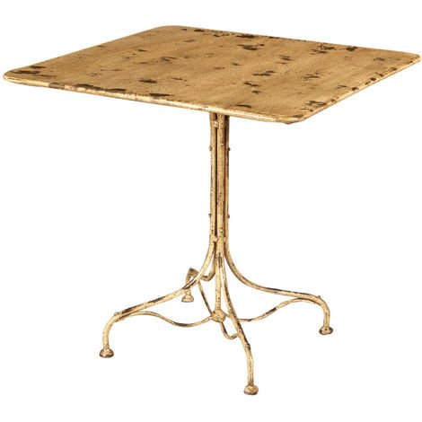TABLE EN FER FORGÉ AVEC FINITION BLANCHE ANTIQUE