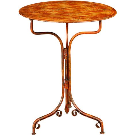 TABLE EN FER FORGÉ AVEC FINITION ROUGE ANTIQUE