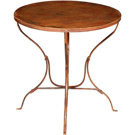 TABLE EN FER FORGÉ FINITION ROUGE ANTIQUE