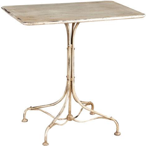TABLE EN FINITION BLANC E ANTIQUE EN FER FORGÉ