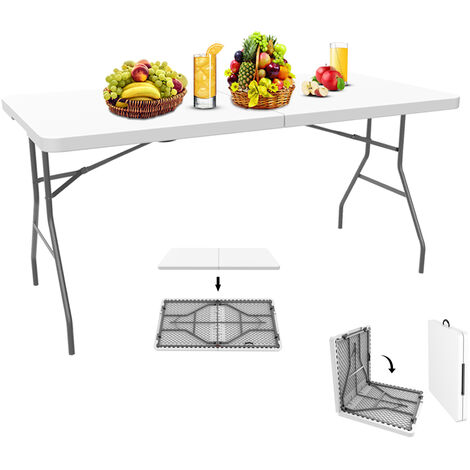 Table en Plastique Robuste, Table Pliante Transportable, 152 x 71.5 cm, Blanc, Pliable en deux, Matériau: HDPE