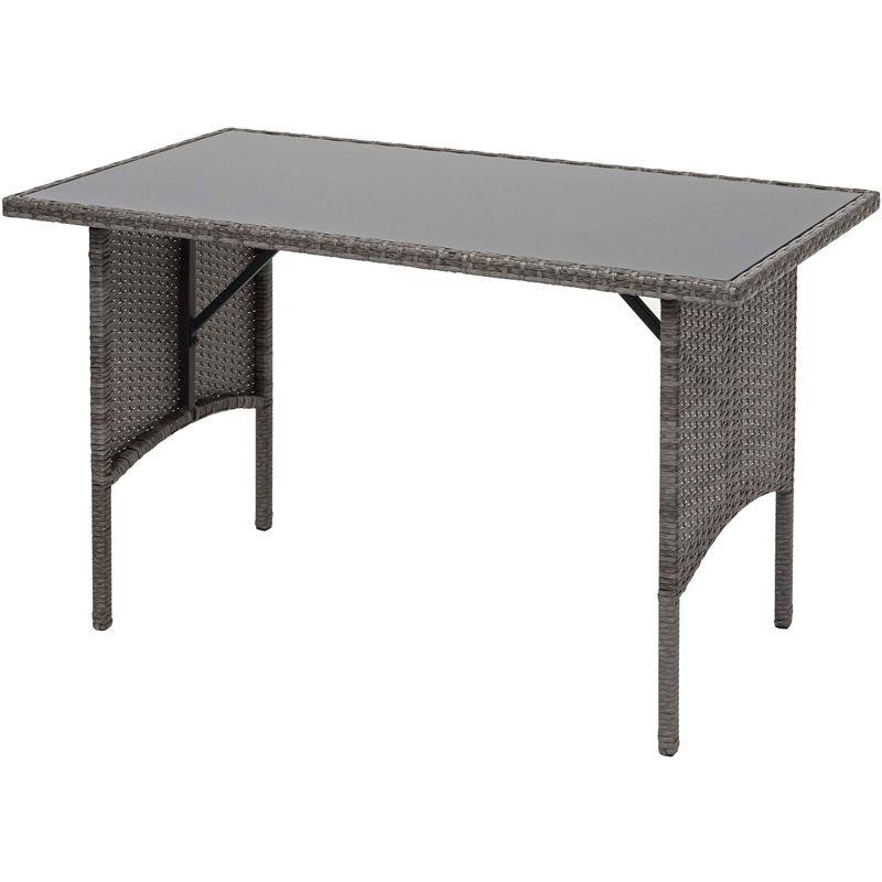 Table en polyrotin HHG-870, table de jardin, salle à manger, gastronomie 112x60cm ~ gris