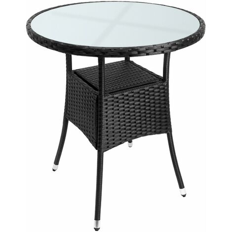 Table en polyrotin rond - Ø60cm - noir pour jardin balcon meuble table d'appoint