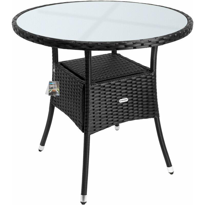 Table en polyrotin surface ronde Ø 80cm noir verre balcon jardin table d'appoint extérieur table de jardin plaque de table en verre espace de