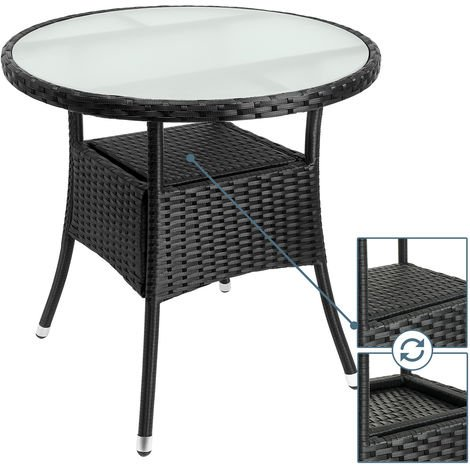 Table en polyrotin surface ronde Ø 80cm noir verre balcon ...