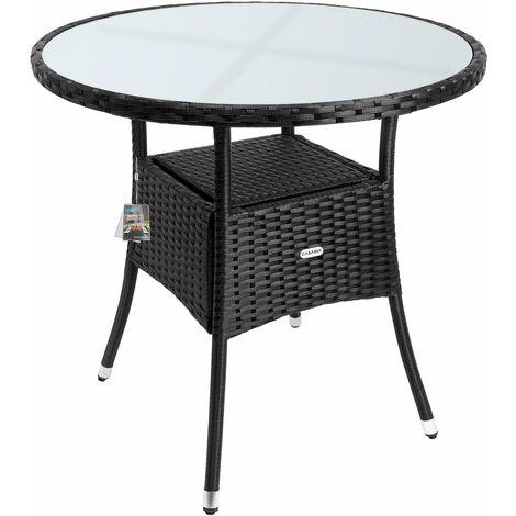 """main image of """"Table en polyrotin surface ronde Ø 80cm noir verre balcon jardin table d'appoint extérieur table de jardin plaque de table en verre espace de rangement"""""""