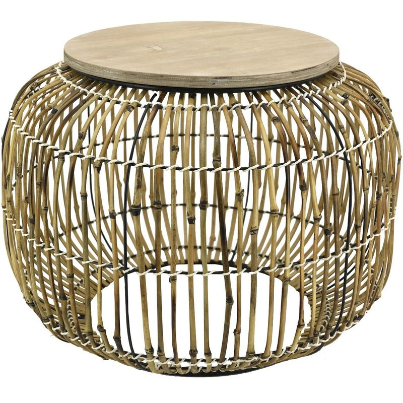 Aubry Gaspard - Table en rotin et bois Utopie