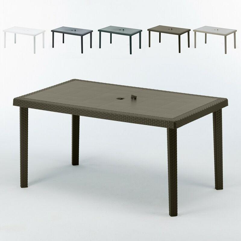 Table en Polyrotin rectangulaire 150x90 Boheme | Marron - Grand Soleil