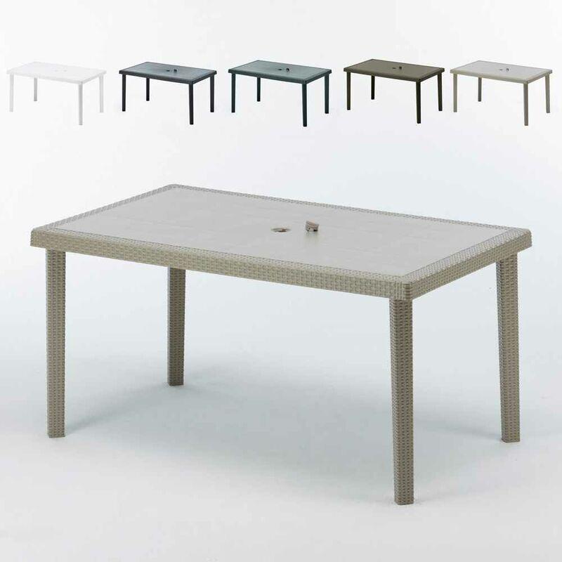Table en Polyrotin rectangulaire 150x90 Boheme | Beige - Grand Soleil