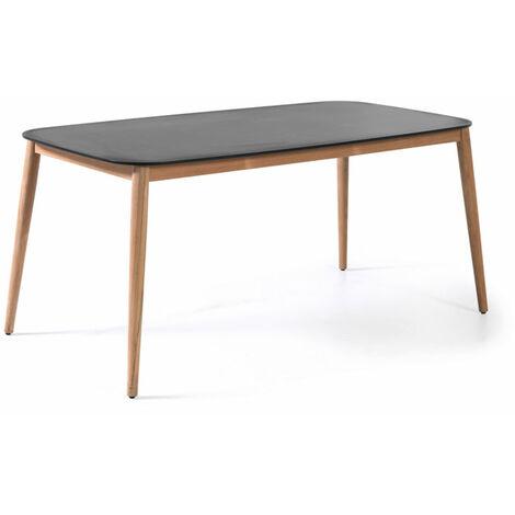 Table en teck et Duranite® noir 213 x 100 cm Kimito - 95038