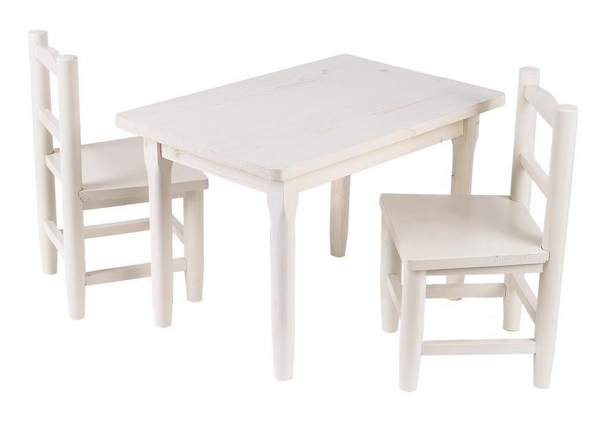 Table Enfant 2 Chaises En Pin Blanchi 2ag Nte 107s