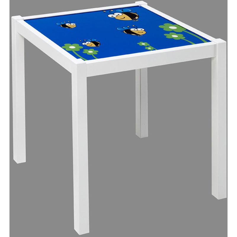 Pegane - Table enfant en bois blanc avec de pieds carrés, Dimensions : 48 x 48 x 43 cm