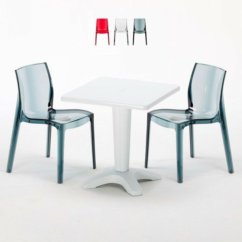 Table et 2 chaises colorées polycarbonate extérieurs Caffè | Femme Fatale Noir Anthracite Transparent - Blanc - Grand Soleil