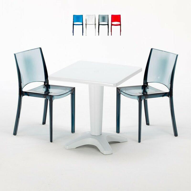 Table et 2 chaises colorées polycarbonate extérieurs Caffè | B-Side Noir Anthracite Transparent - Blanc - Grand Soleil
