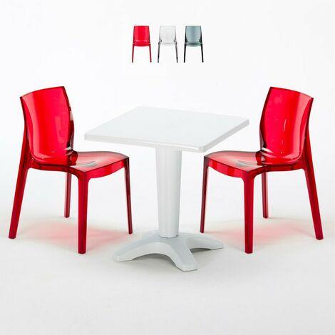 Table et 2 chaises colorées polycarbonate extérieurs Grand Soleil CAFFÈ