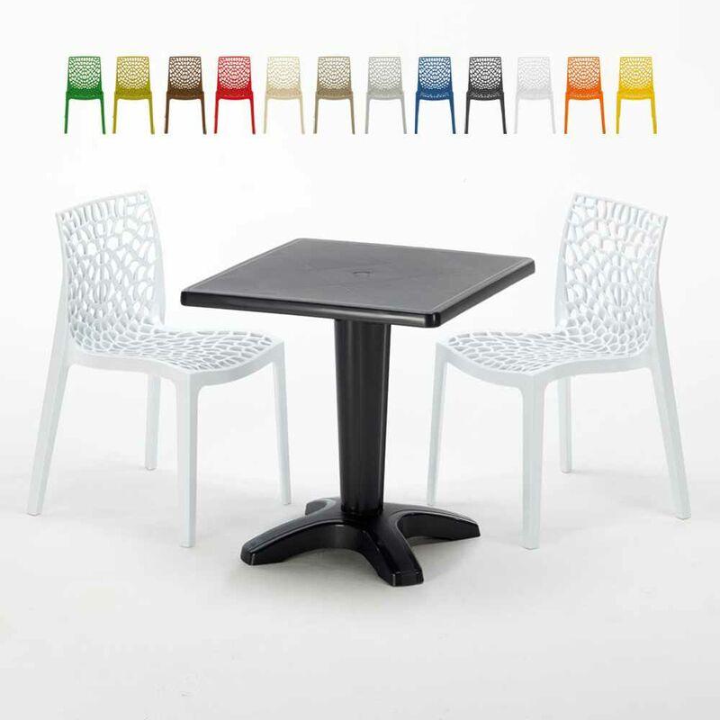 Table Carrée Noire 70x70cm Avec 2 Chaises Colorées Set Bar Café Gruvyer Aia | Blanc - Grand Soleil