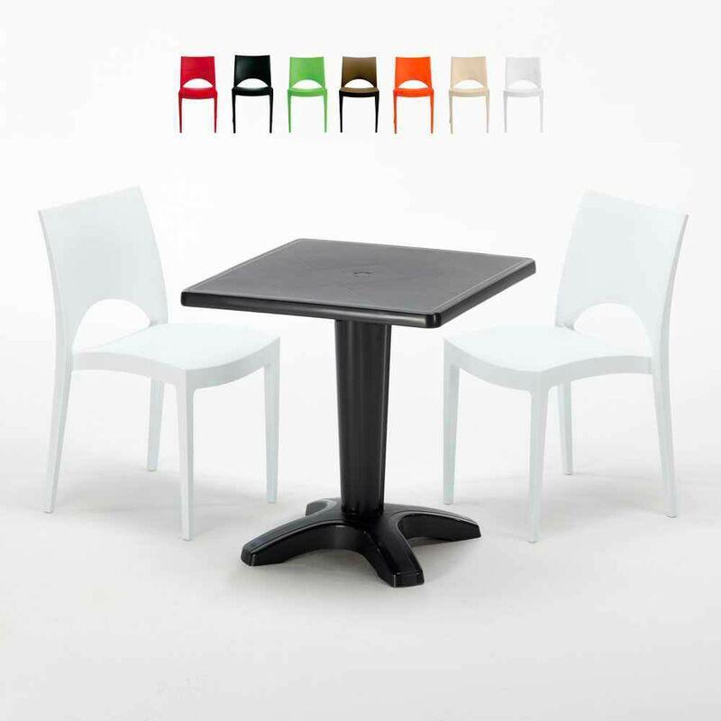 Table Carrée Noire 70x70cm Avec 2 Chaises Colorées Set Bar Café Paris Aia | Blanc - Grand Soleil