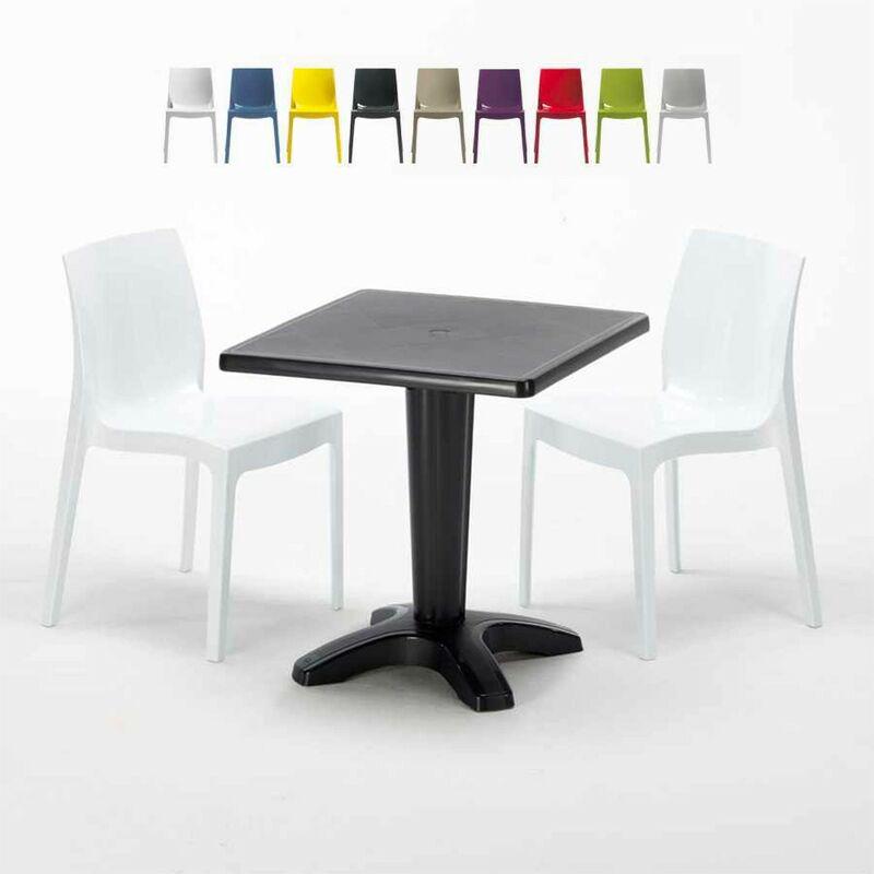 Table Carrée Noire 70x70cm Avec 2 Chaises Colorées Set Bar Café Ice Aia | Blanc - Grand Soleil