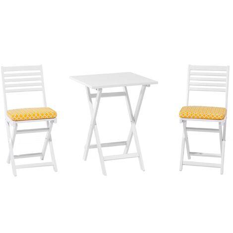 Table et 2 chaises de jardin blanches en bois avec coussins jaunes FIJI