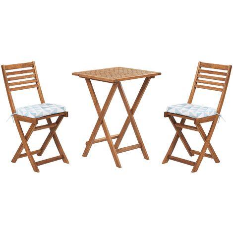 Table et 2 chaises de jardin en bois avec coussins bleu et blanc FIJI