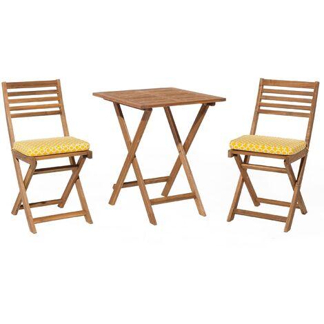 Table et 2 chaises de jardin en bois avec coussins jaunes FIJI