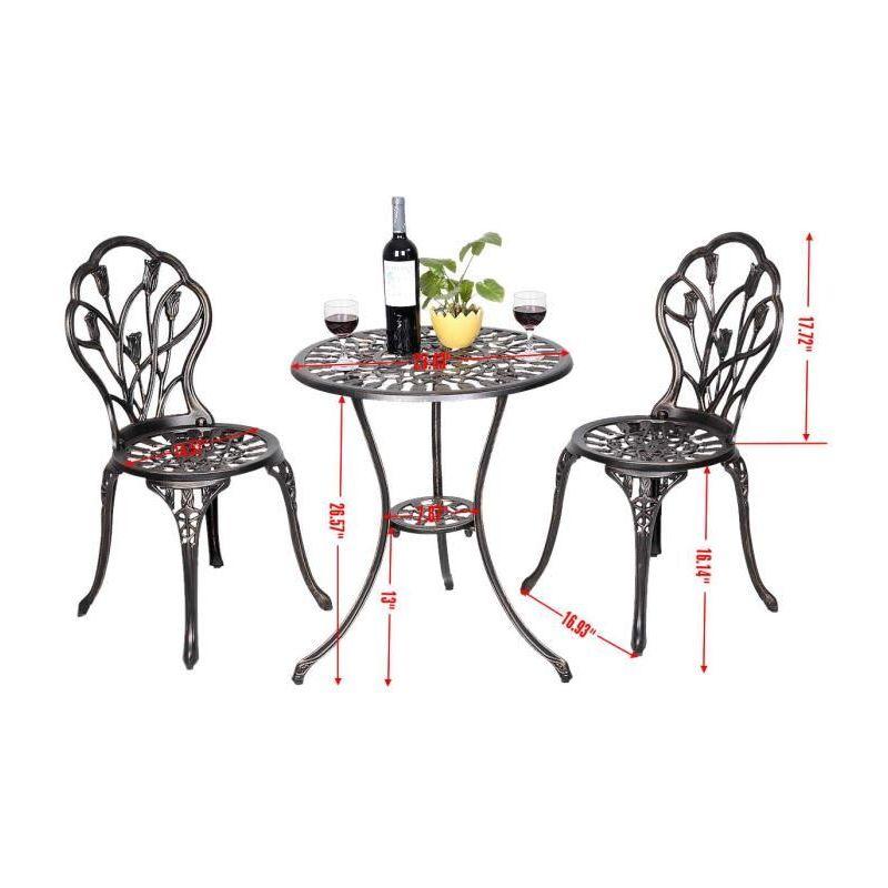Table et 2 chaises de jardin salon de jardin en aluminium coulé style  antique