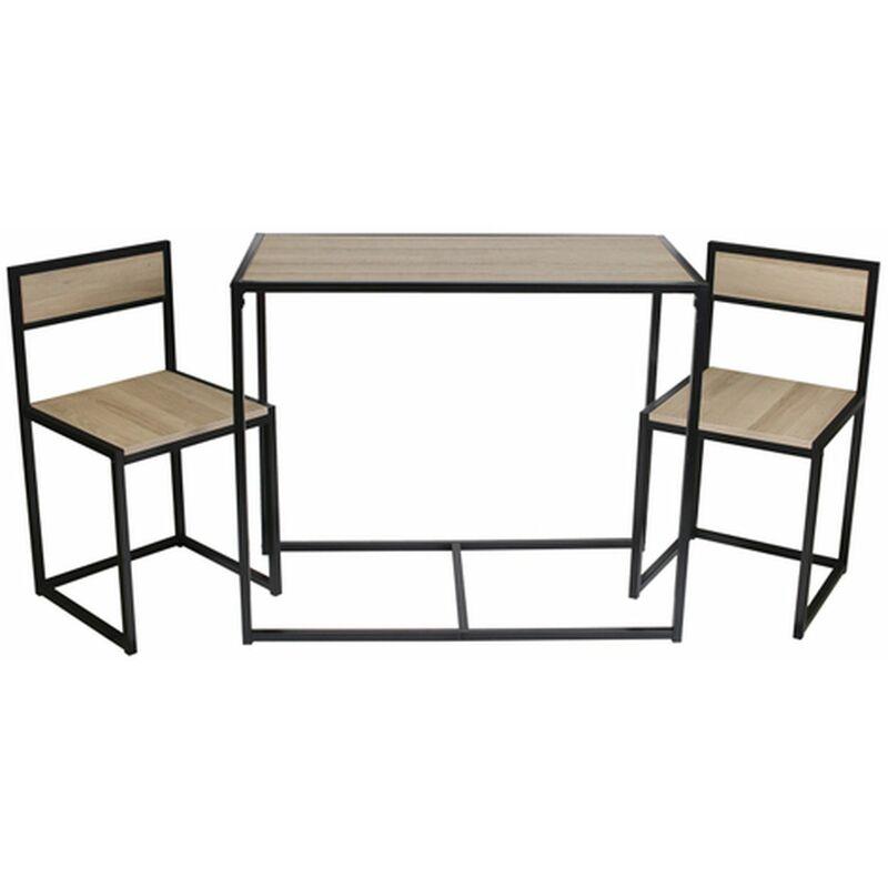The Home Deco Factory - Lot d'une table et de 2 chaises Otis - 90 x 75 x 47 - Noir