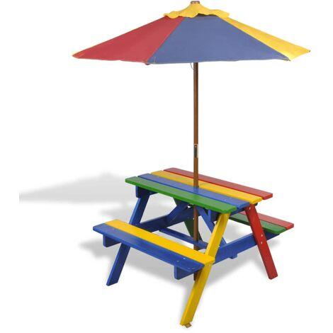 Table et bancs de pique-nique avec parasol pour enfants Bois