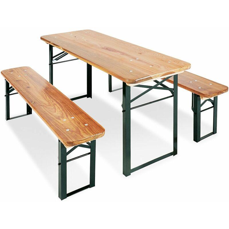 Décoshop26 - Table et bancs de pique-nique pliable pour enfants en bois de pin massif et métal - noir