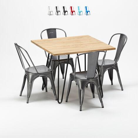 Table et chaises carrées en métal et en bois au style industriel Tolix Tribeca