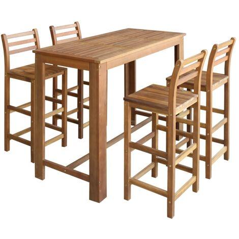 Table et chaises de bar 5 pcs Bois d'acacia massif