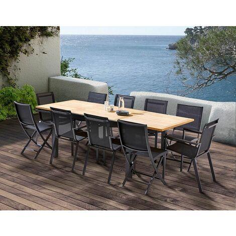 Table et chaises de jardin moderne Bali 4 chaises 6 fauteuils - Noir