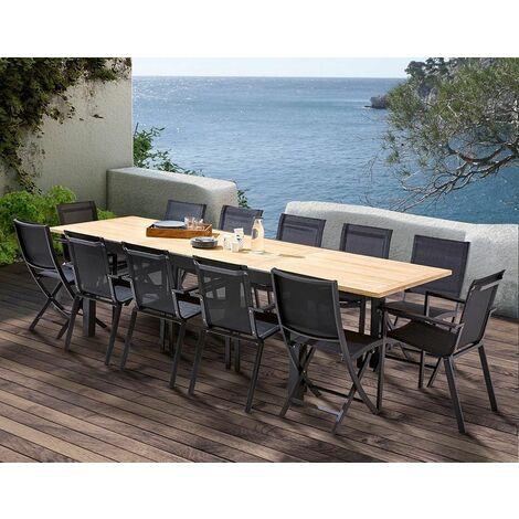 Table et chaises de jardin moderne Bali 4 chaises 8 fauteuils - Noir