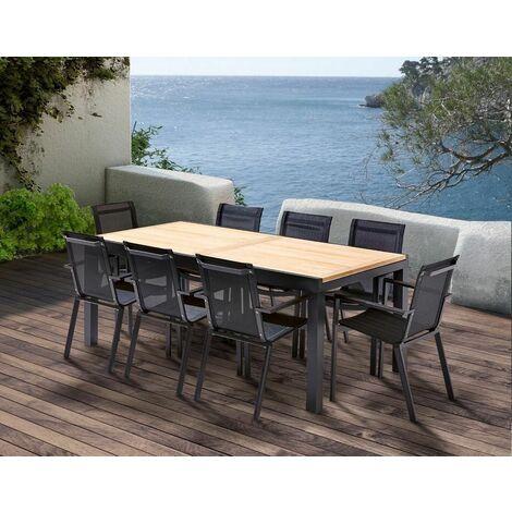 Table et chaises de jardin moderne Bali 8 fauteuils - Noir
