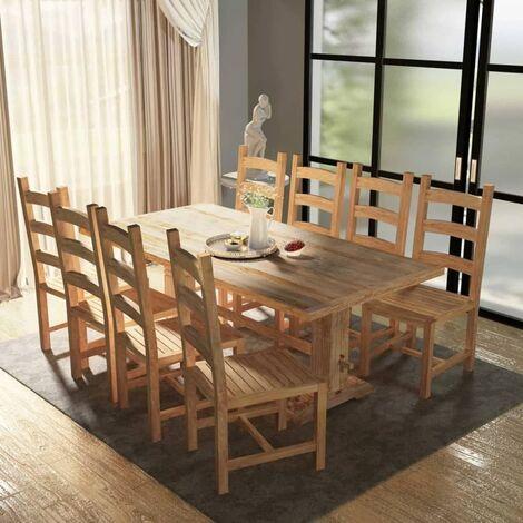 Table et chaises de salle à manger massives 9 pièces Teck