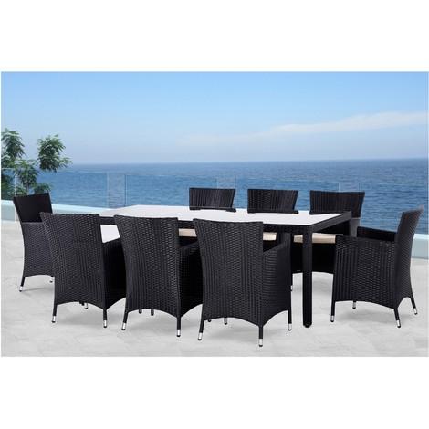 Table Et Fauteuils De Jardin En Resine Tressee 8 Places Mykonos Noir
