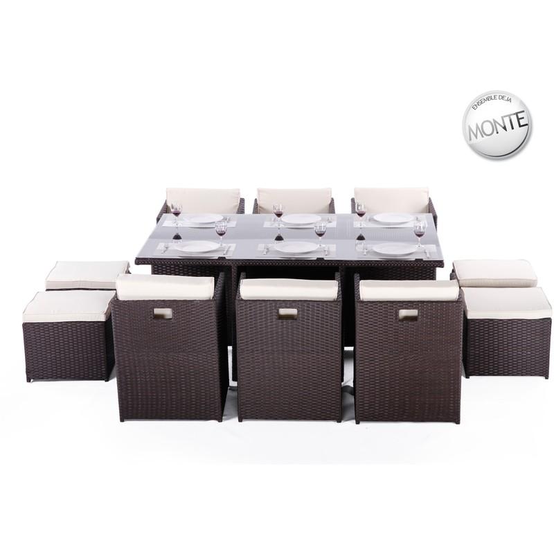 Table et fauteuils de jardin encastrables en résine tressée 10 places AROMA  chocolat
