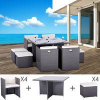 Table et fauteuils de jardin encastrables en résine tressée 8 places KUBO gris