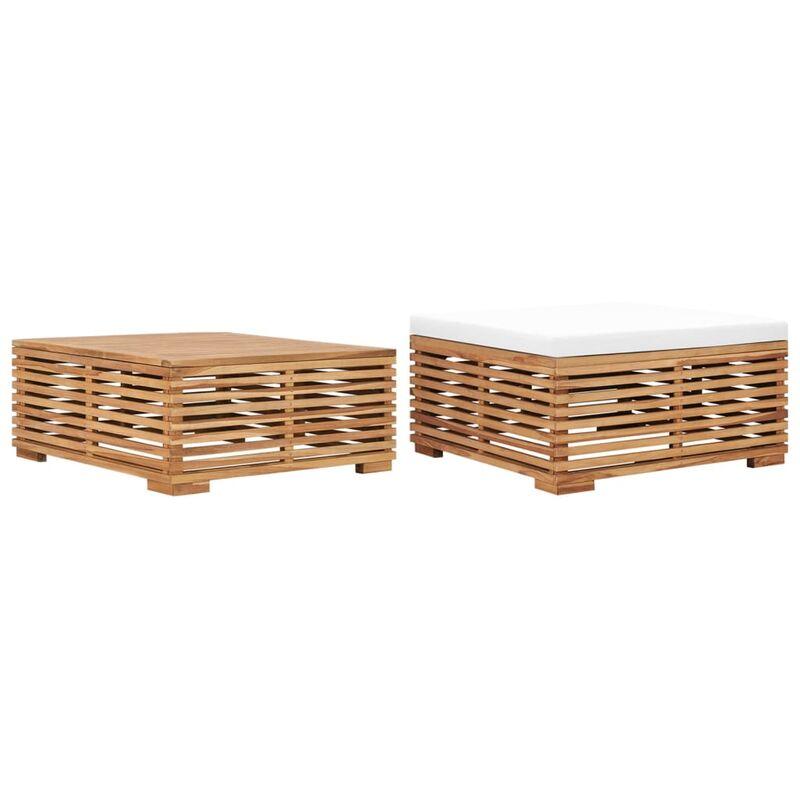 Table et repose-pied de jardin avec coussin crème Bois de teck