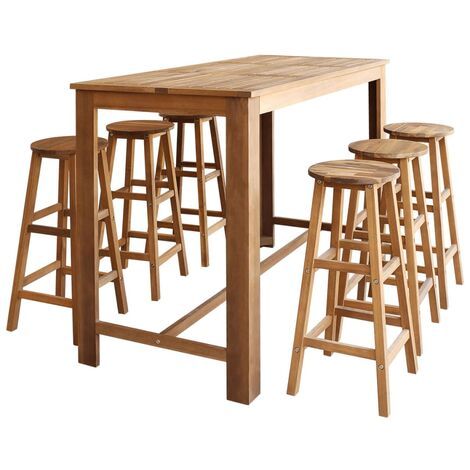 Table et tabourets de bar 7 pcs Bois d'acacia massif