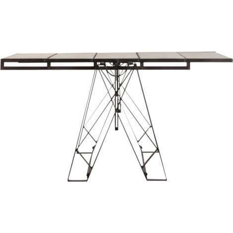 Table étagère industrielle bois métal - Gris