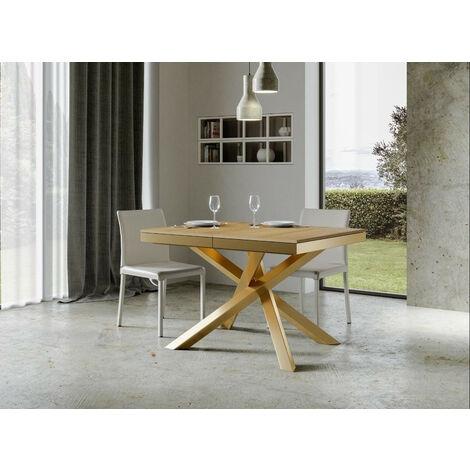"""main image of """"Table extensible 4 à 8 personnes chêne naturel et pieds entrelacés doré L 120 à 224 cm Artemis"""""""