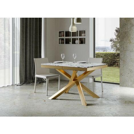 """main image of """"Table extensible 4 à 8 personnes effet marbre et pieds entrelacés doré L 120 à 224 cm Artemis"""""""